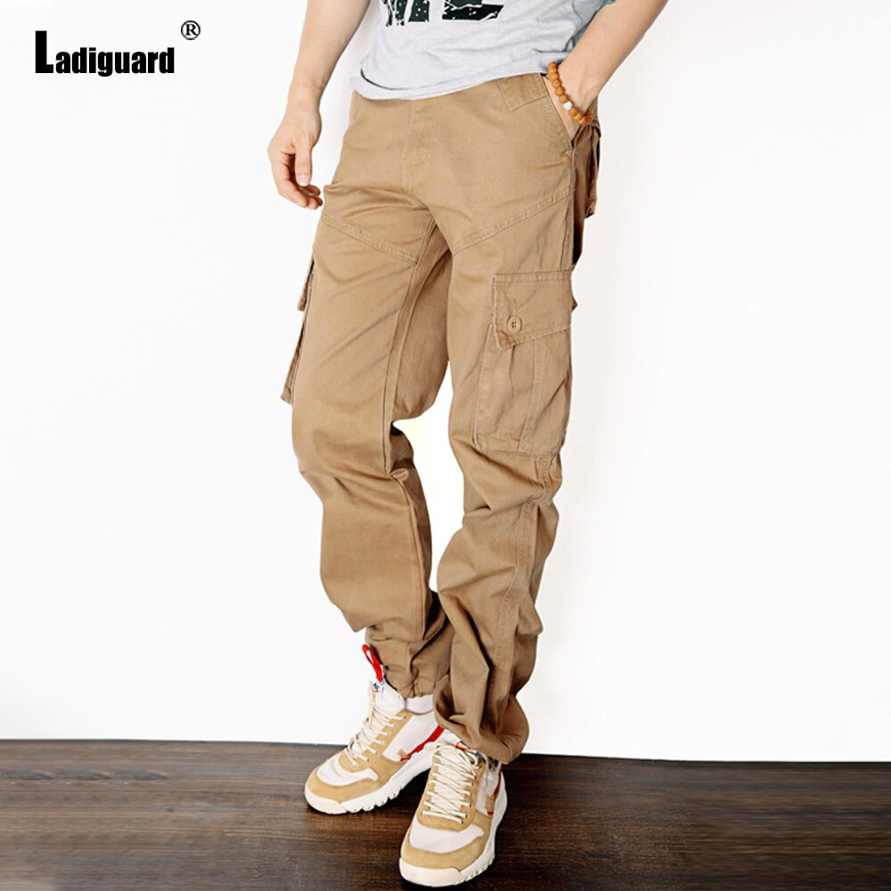Ladiguard Plus Size Mens Fashion Cargo Pants 2021 European Style Male Zipper Pockets Trouser Khaki Outdoor Casual Skinny Pant zipper fly pockets embellished plus size cargo pants