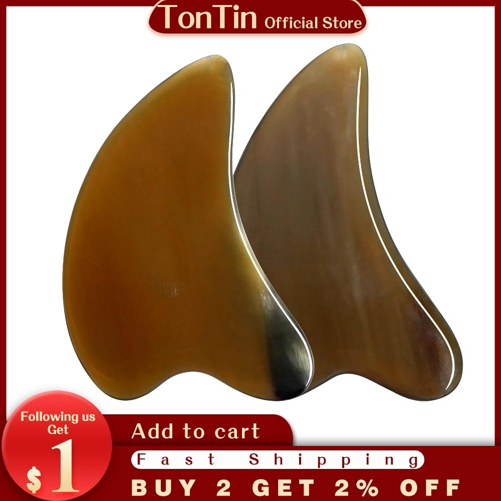 high quality 5a grade original si bin bian stone body massage guasha kit facial beauty comb 120x45x6mm gift chart Tontin High Quality Horn Guasha Scraping Facial Beauty Salon Tool Dolphin shape Gift Chart and Bag