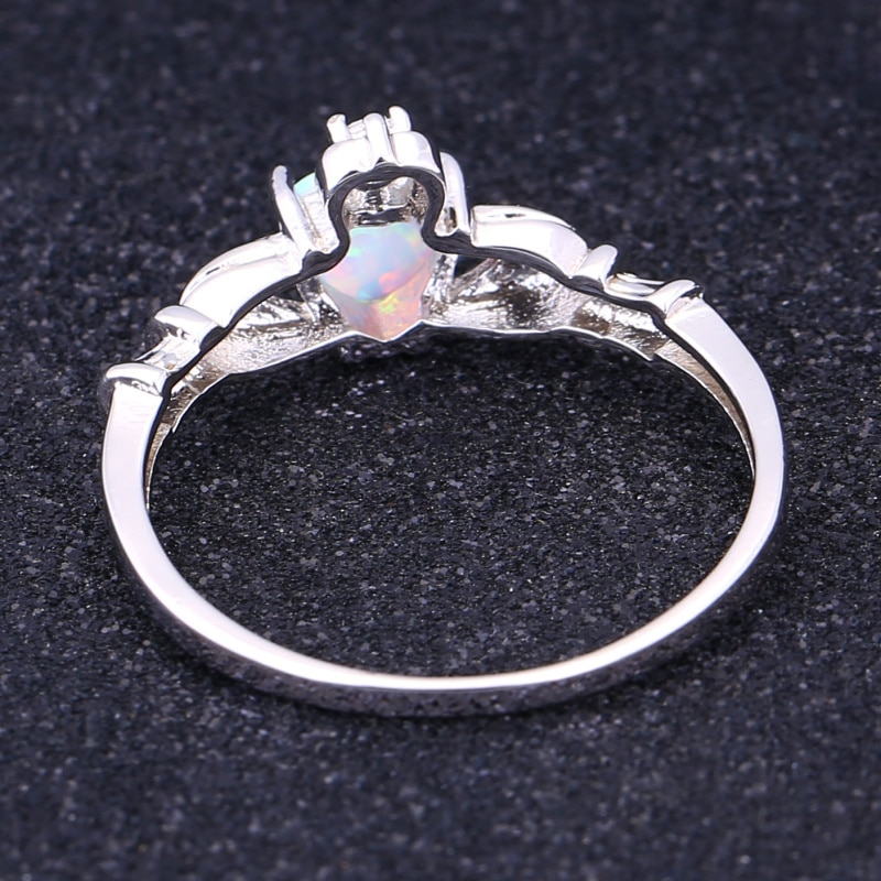 Fashion Rings For Women lab White Cubic Zirconia Rings White Fire Opal Silver Color Jewelry Size 5 6 7 8 9 10 11 R597