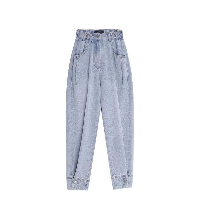 Light Blue Brief Button Split Wide Leg Jeans New High Waist Loose Women Trousers Fashion Tide Spring Autumn 2020 Harajuku Pants