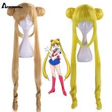 Anogol nuovissimo Sailor Moon Tsukino Usagi parrucca Cosplay sintetica lunga riccia bionda doppia coda di cavallo per la festa in Costume della ragazza