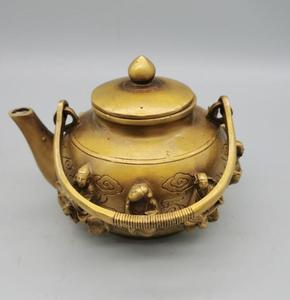 China brass eight immortals teapot crafts statue
