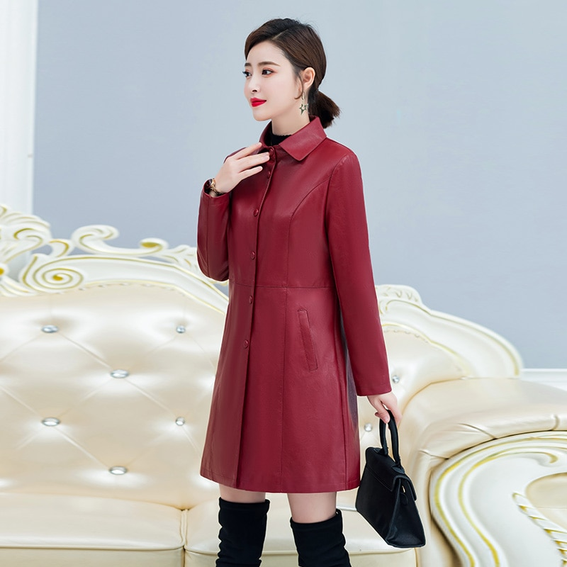2019 Autumn Winter Women Faux Leather Jacket Plus Cotton PU Leather Trench Winter Long Black Coat Female Outerwear Plus Size 5XL enlarge
