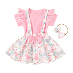 Summer Kids Baby Girls 12M-5T Three Piece Set Fly Short Sleeve Shirt Cartoon Strap Skirt Bunny Easter Clothes Set