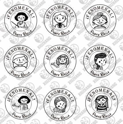 Buen trabajo Teacher Stamp personalized custom name stamp self inking for Teacher gift school assessment 40mm