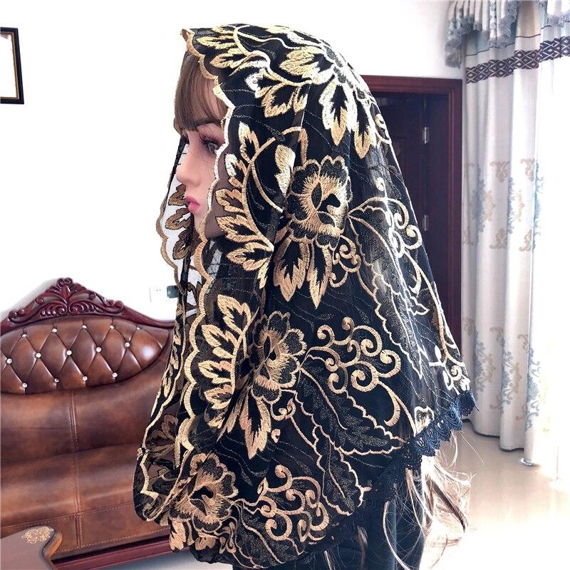 Popular preto feminino véu católico mantillas véu jerusalém muçulmano elegante senhoras floral voile dentelle xale cachecol igreja capa