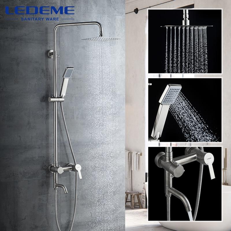 LEDEME-صنبور دش مطري للحمام ، صنابير كابينة دش ، صنبور دوار ، صنبور شلال من الفولاذ المقاوم للصدأ ، L72401