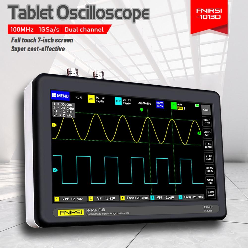 Largura de Banda Digital Tablet Osciloscópio Duplo Canal 100mhz x2 1gs Taxa Amostragem 7 Polegada Tft Touchscreen Fnirsi-1013d