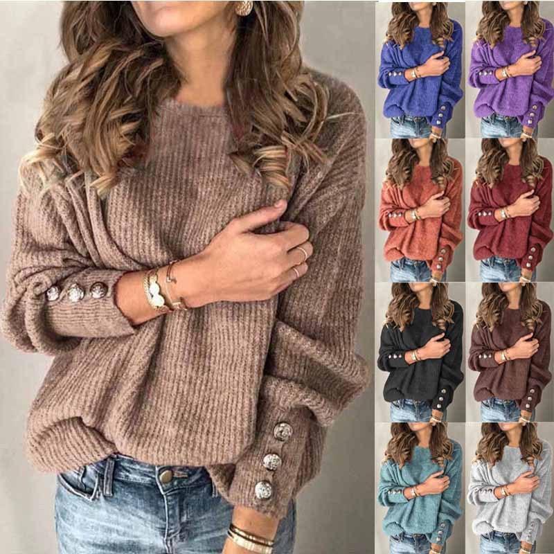 Camiseta de mujer suéter de moda de manga larga de cuello redondo suéter con botones Top Outwear