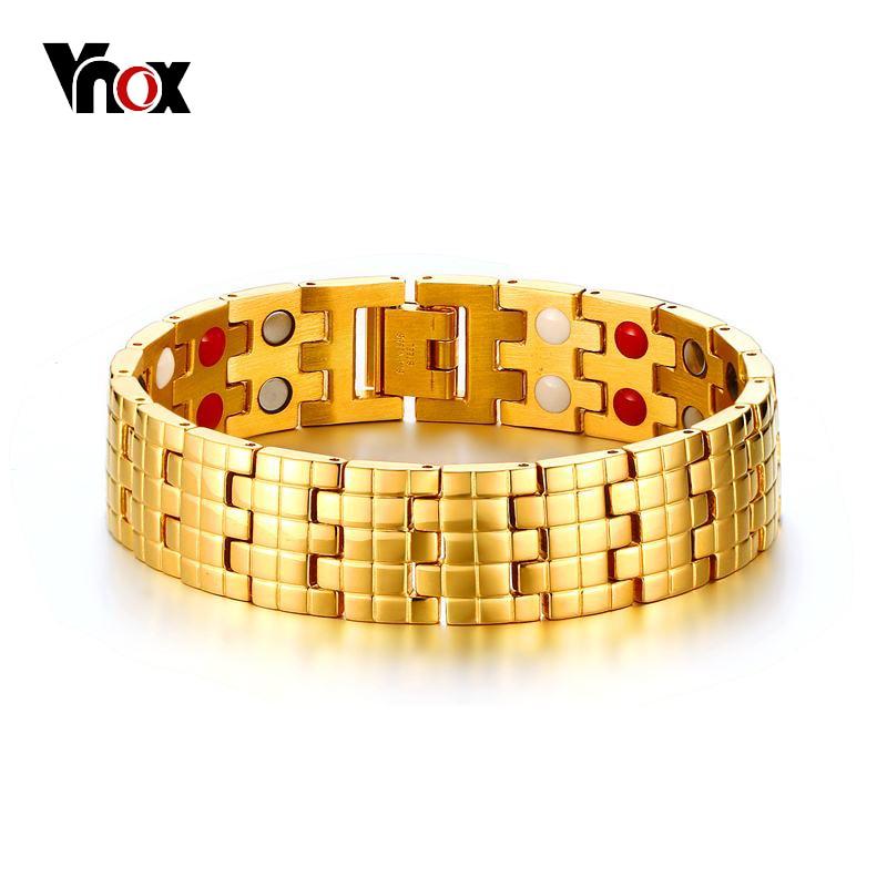 Vnox Магнитная Здоровье и гигиена браслет золото-цвет Для мужчин цепи Jewelry с магнитами