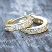 classic luxury gold color aaa cubic zirconia hoop earrings for men women hip hop earrings fashion jewelry party gifts