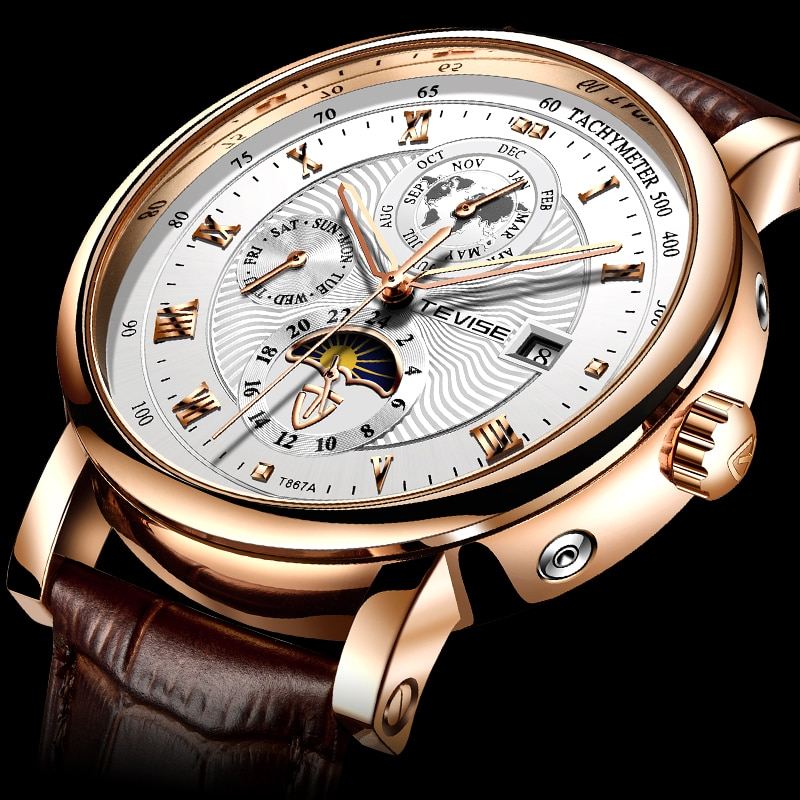 2021 New TEVISE WristWatch Men Business Automatic Mechanical Watch Fashion Luxury Tourbillon Sport M