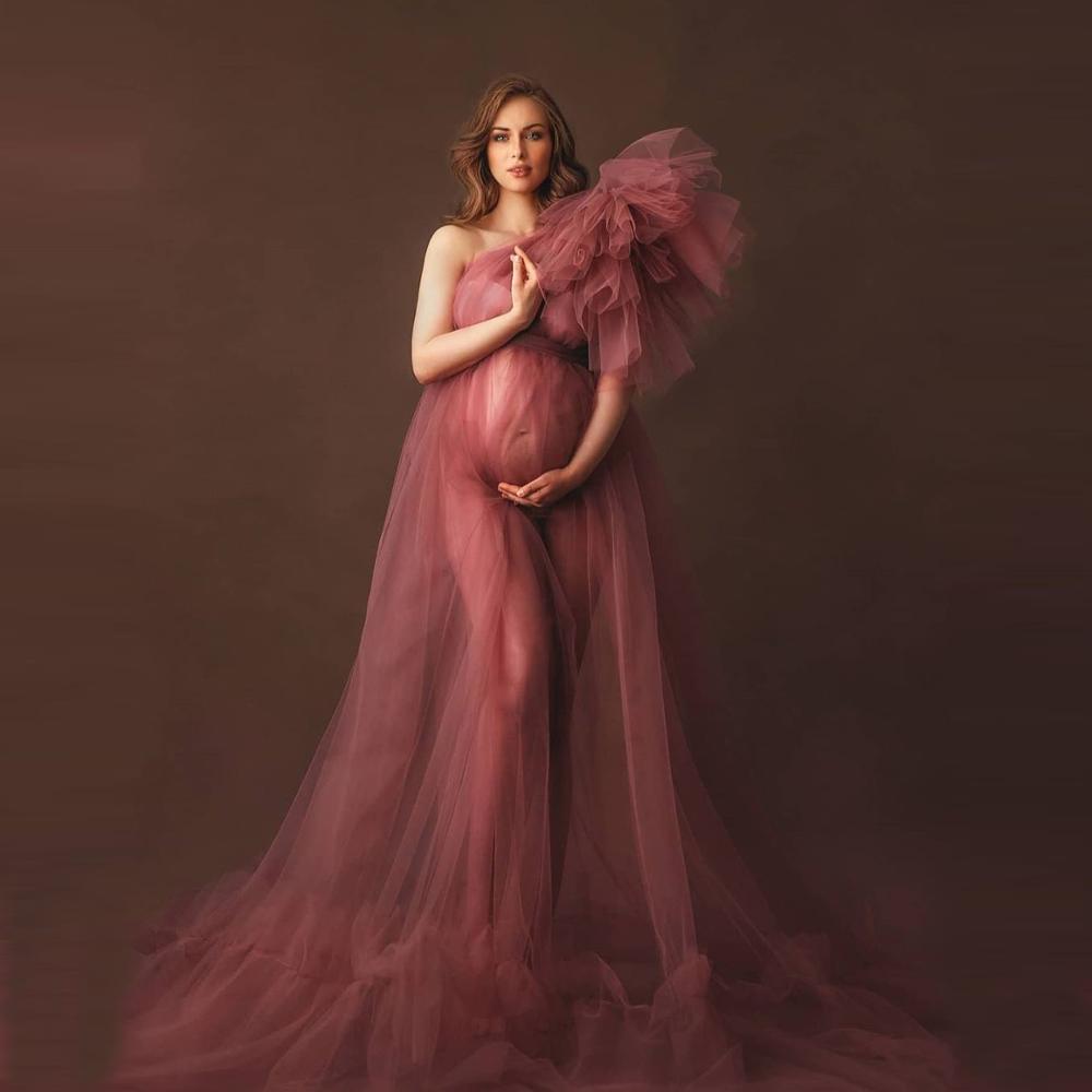 أنيقة واحدة الكتف تول ملابس للحمل انظر من خلال مثير النساء حجم كبير تول الأمومة خلع الملابس العباءات للتصوير الفوتوغرافي