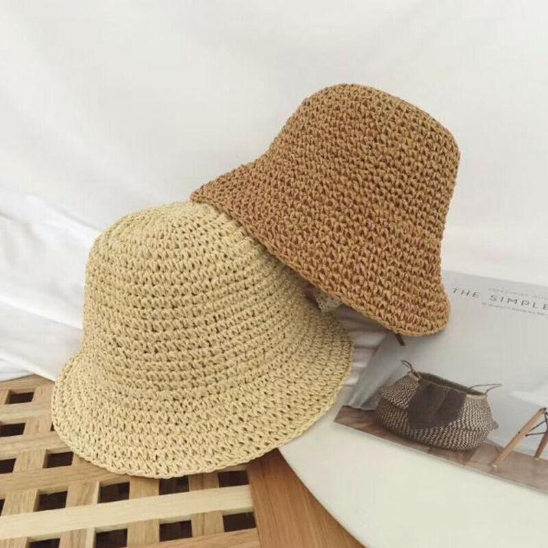 2020 6M-4Y Newborn Baby Girl Kids Summer Princess Infant Sun Cap Cotton Bucket Hat Baby Girls Beach Straw Sun Cap 3 Colors