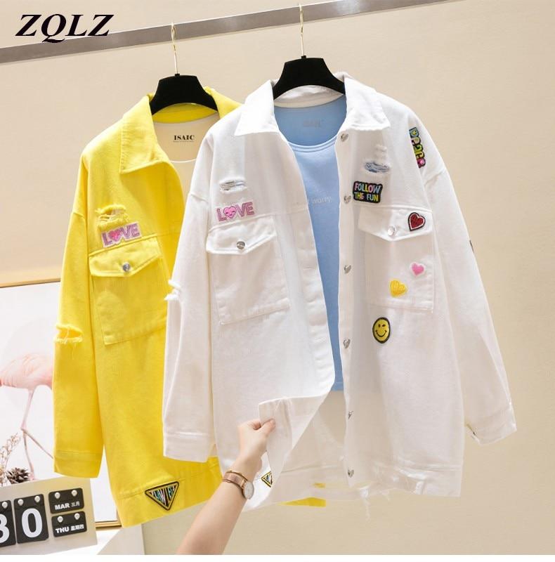 ZQLZ-معطف نسائي طويل من الدنيم ، معطف كبير الحجم ، ملابس الشارع ، صدر واحد ، مجموعة ربيع وخريف 2021