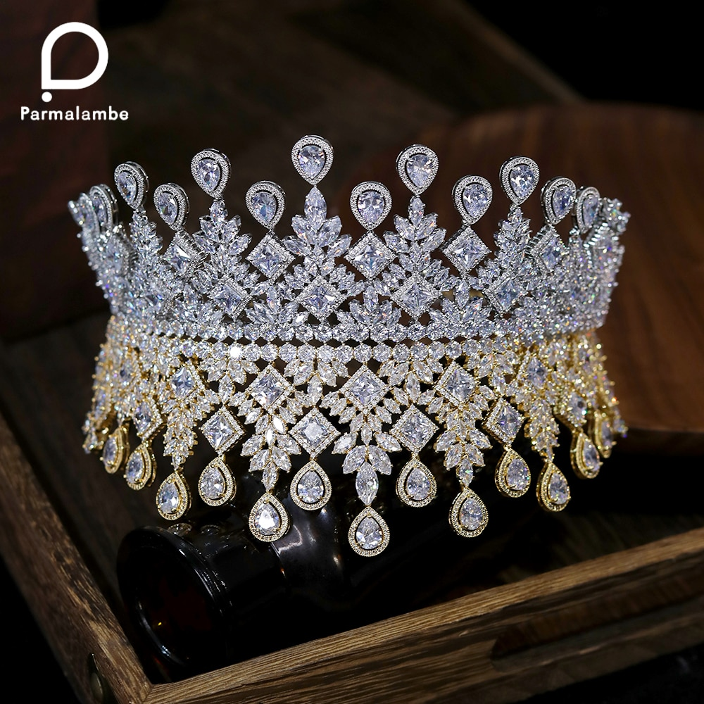 Luxury Queen Crown Wedding Bridal Tiaras Hair Jewelry Large Zircon Crystal Headband  Prom Party Hair Accessories  for Women