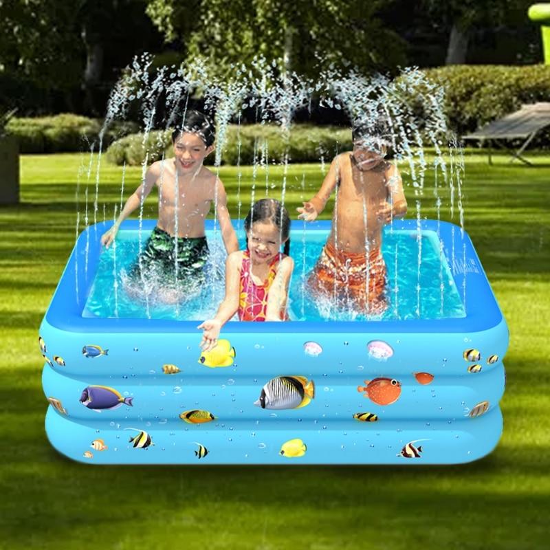 94/83inch Paddling Pool Garden Water Sprinkler Splashing Pad Foldable Swimming Pool Kids' Party Favor Sets Outdoor Games