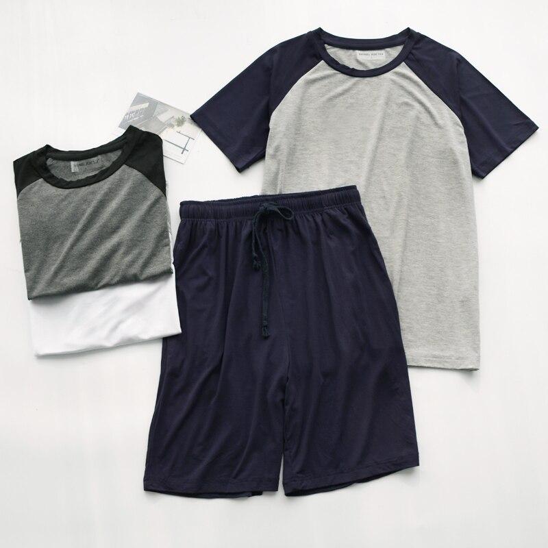 Модал лето пижамы для мужчин тонкий разрез свободный короткий рукав шорты можно носить на улице спорт дом сервис костюм +мужчины одежда для сна