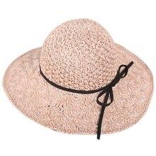 Women Straw Sun Hat Summer Sweet Retro Straw Hats Girls Beach Hollow Panama Hats Vacation Sun Visor Hats