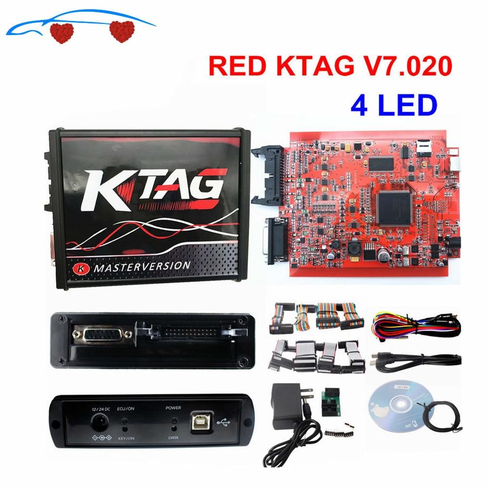 2021 الأحمر KTAG V7.020 OBD2 مدير ضبط لا الرموز استخدام K-TAG عبر الإنترنت 7.020 للسيارة/شاحنة/جرار K-TAG ECU رقاقة ضبط أداة