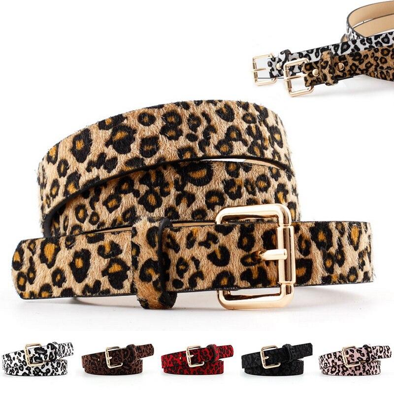 Sexy Female Belt Cummerbund Women Horsehair Belt With Leopard Pattern Rose Gold Metal Buckle Hot Wom