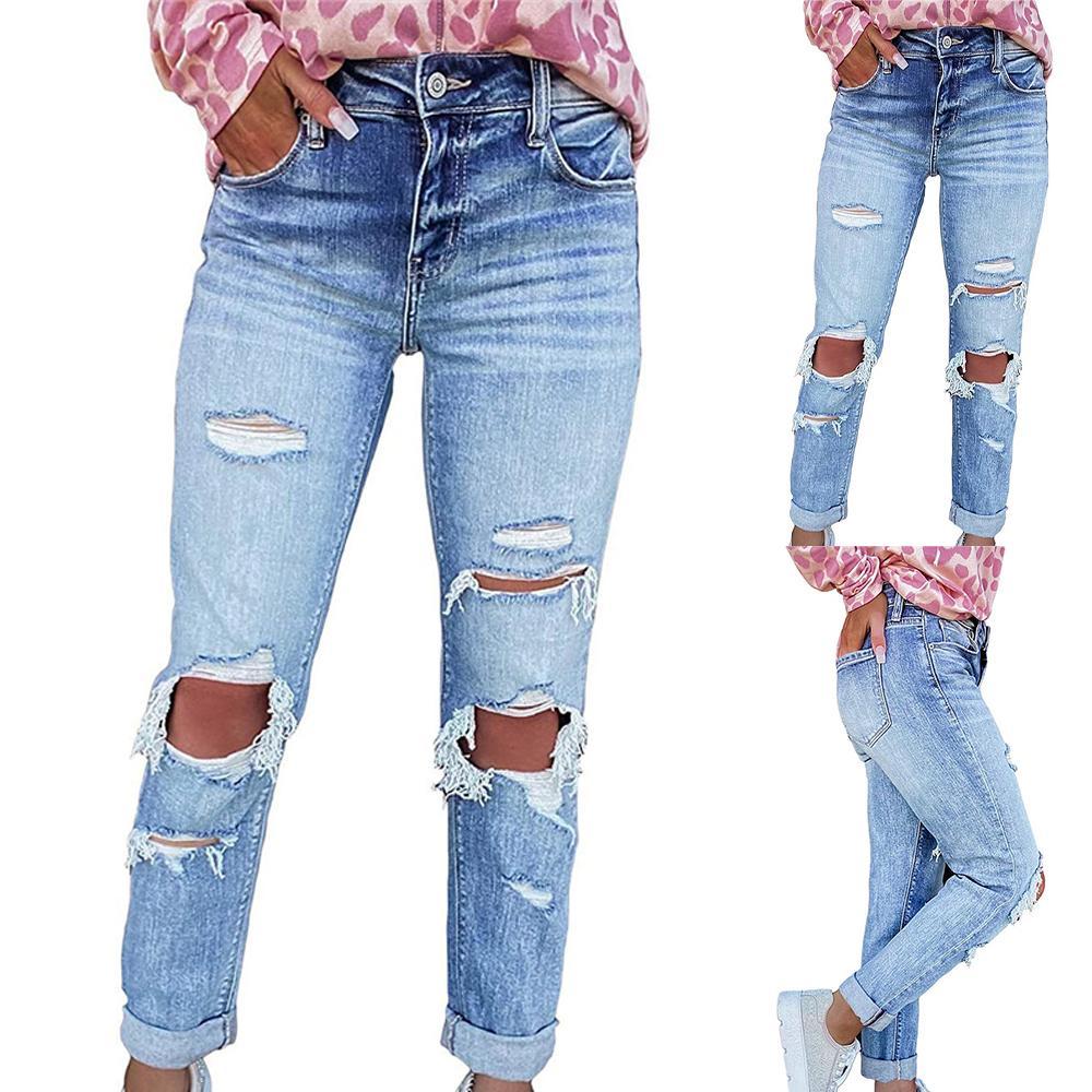 بنطلون جينز ممزق أنيق للسيدات بنطلون جينز ضيق غير رسمي