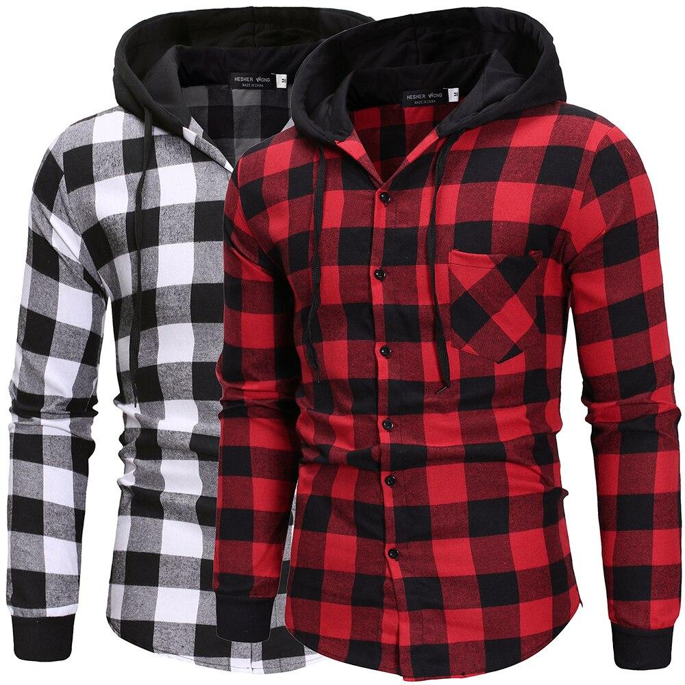 Camisas masculinas outono moda casual xadrez camisas de manga longa algodão de alta qualidade pulôver com capuz camisa de inverno dos homens blusa superior