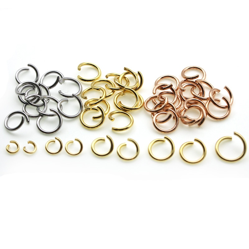 100pcs 0.6mm Gold Stainless Steel Jump Rings Split Rings Connector For Jewelry Making DIY Necklace Chains Accessories Findings 1 box 4 5 6 7 8 10mm jewelry findings open jump split rings connector for diy jewelry findings making rhodium gold silver color