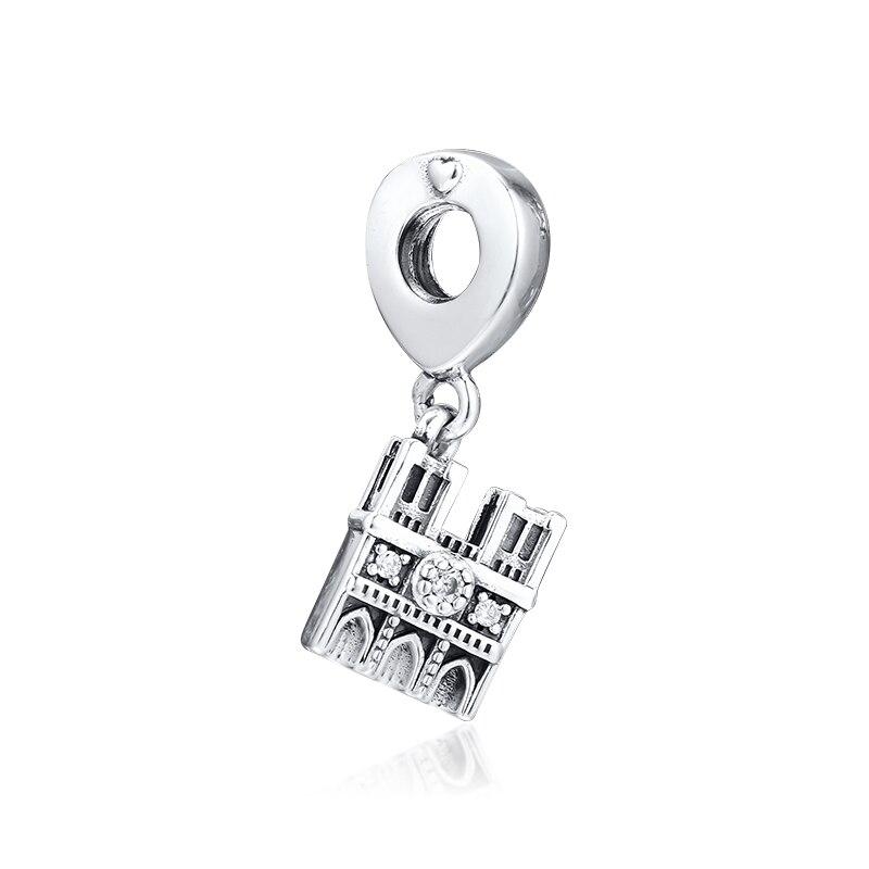 Cuentas de plata de ley 925 100% auténtica Notre Dame colgante se adapta a Pandora encantos plata 925 Pulseras originales al por mayor kralen