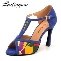 ladingwu women salsa party ballroom shoes latin dance shoes featured pattern satin and featured pattern blue suede cuba heel 10c