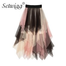 SETWIGG Süße Multi-farbe Tüll Patchwork Lange Unregelmäßige Röcke Elastische Taille Band A-linie Farbige Mesh Plissee Mid-kalb röcke