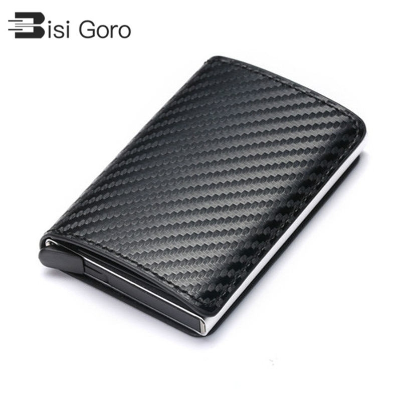 BISI GORO 2020 Business ID Credit Card Holder Men and Women Metal RFID Vintage Aluminium Box PU Leat