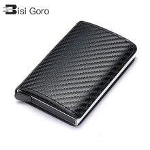 Bisi Goro 2020 Zaken Id Credit Kaarthouder Mannen En Vrouwen Metalen Rfid Vintage Aluminium Doos Pu Leather Card Wallet note Carbon