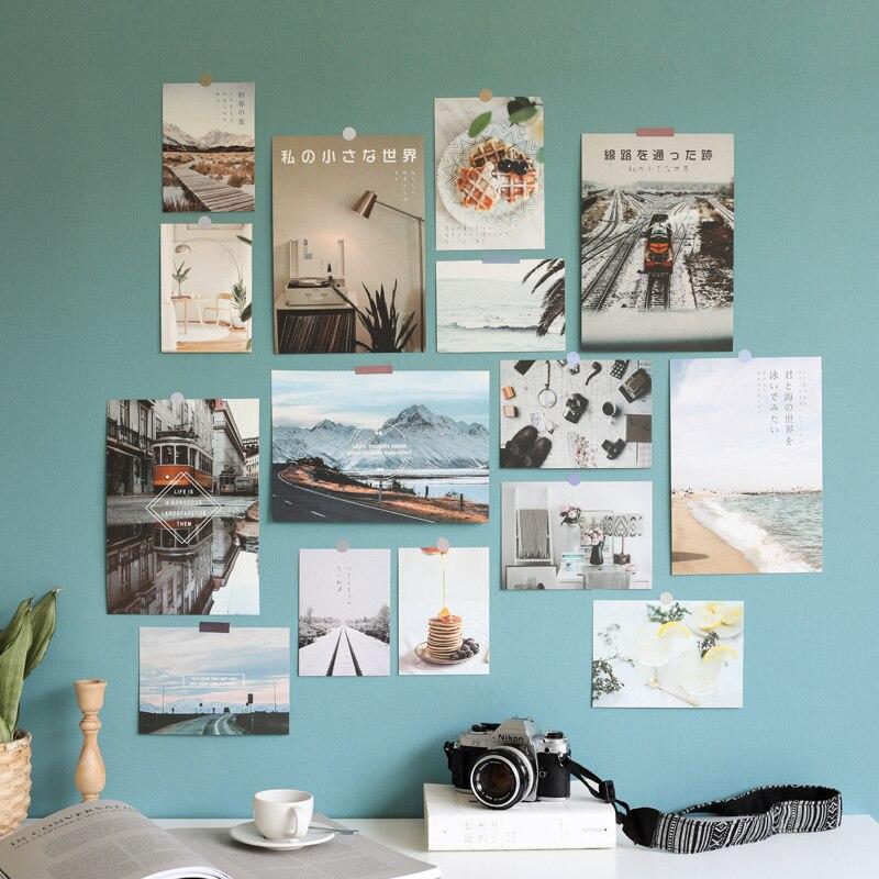 Скандинавская настенная декоративная открытка, картина для спальни, настенная наклейка, декоративная картина, Цветная декоративная открыт...