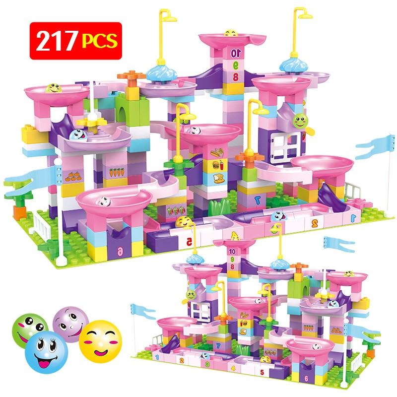 217 pcs criativo mármore corrida labirinto bolas pista blocos de construção compatível duploed funil slide tamanho grande tijolos brinquedos para crianças