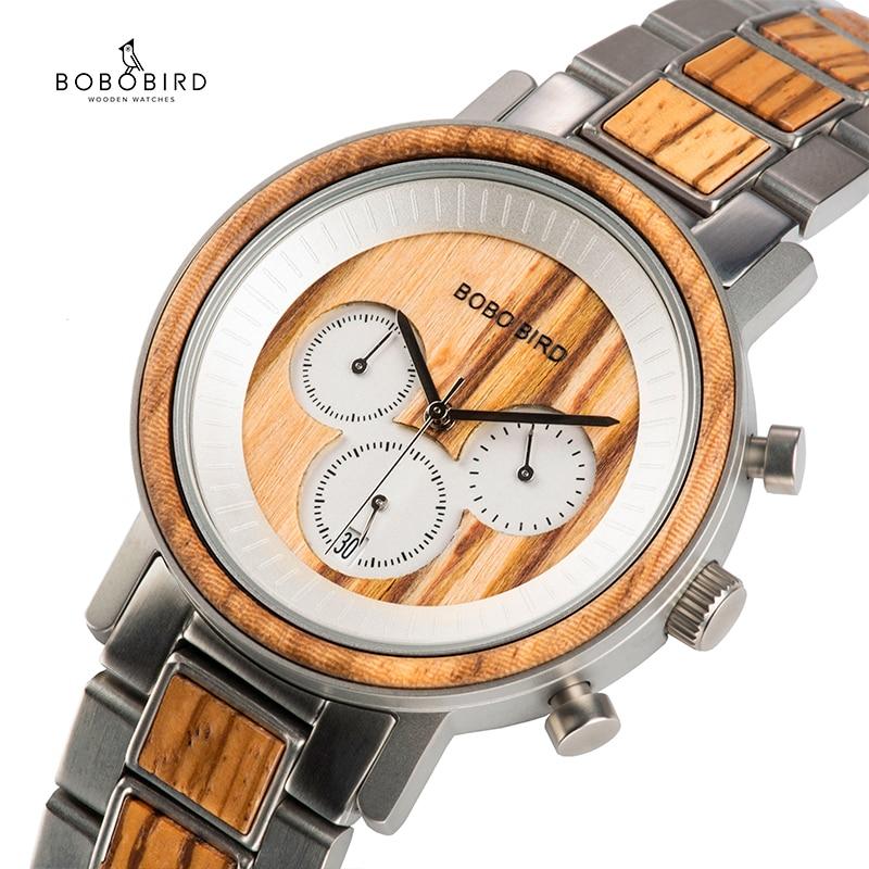 BOBO BIRD-ساعات خشبية للرجال ، ساعة يد كوارتز فاخرة ، كرونوغراف رياضي ، تاريخ تلقائي ، هدايا رجالية ، 2020