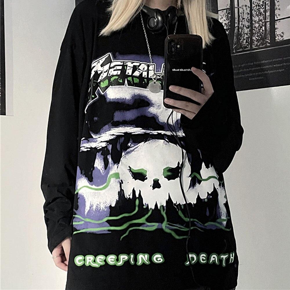 New Fashion Women Tshirt Dark Japanese Dark  Rock Retro Print Long Sleeve Tshirt Fall Clothes For La