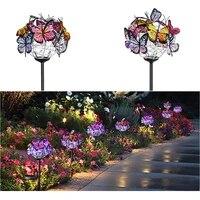 2pcs colorful butterflies led solar lights outdoor garden solar lamps yard corridors decor light