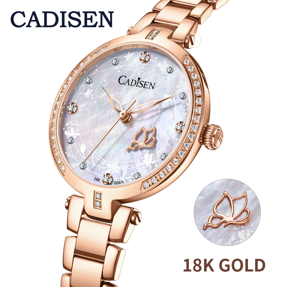 2020 CADISEN 18K GOLD watch luxury brand ladies diamond watch Japen quartz sapphire star design Starry Sky watch ladies gift enlarge