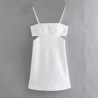 summer women hollow design white suspender mini dress female sleeveless clothes casual lady slim vestido d7637