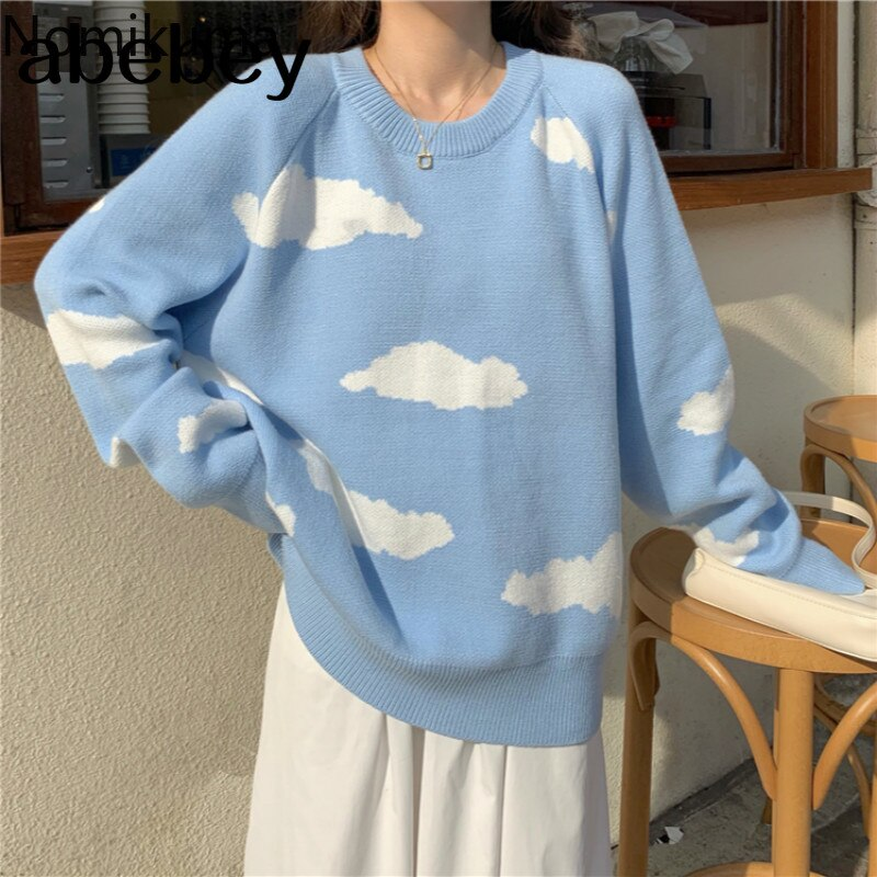 Korean Cartoon Cloud Women Sweater Chic Causal Oversized Knitted Pullover Tops 2020 Autumn New Pull