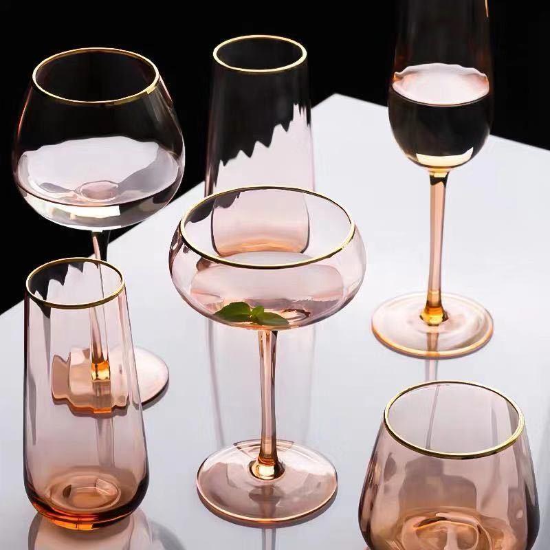 De Lujo Luz color champagne de vidrio de oro de cristal de agua creativo Copa hotel de rojo vino de champagne florero de vidrio encuentro