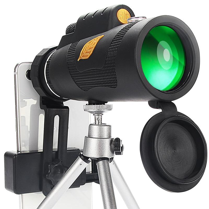 12x50 تلسكوب أحادي العين قوي ، ترايبود اختياري و حامل هواتف ذكية ، ومناسبة للمشي والتخييم تلسكوب