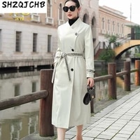shzq autumn 2021 new sheepskin leather windbreaker womens medium and long double breasted single leather coat