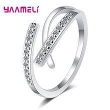 Genuine 925 Sterling Silver Rings for Women Men Engagement Ring Bijoux Bague Gift Shining CZ Crystal