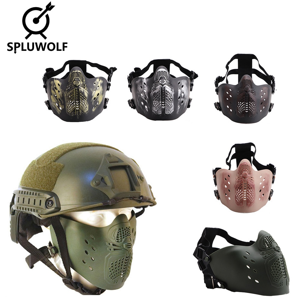 New Tactical Airsoft Paintball Mask for Helmet Half Face Metal Steel Hunting Protective Party CS Mask airsoft paintball tactical helmet protective fast helmet abs tactical mask with goggles cs equipment