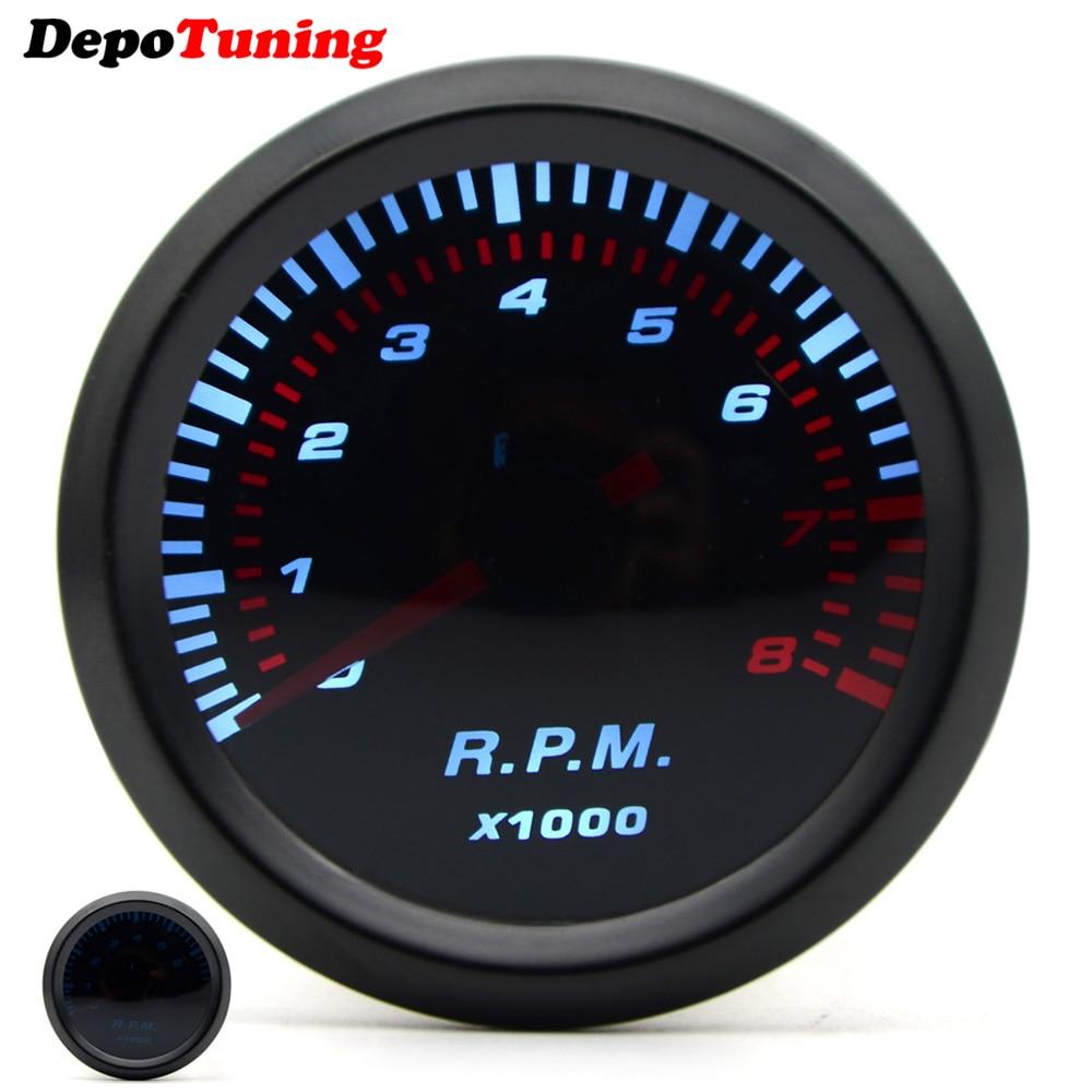Tacómetro automático Universal de 2 pulgadas 52mm para lente de humo, LED blanco 0-8000 RPM, medidor de calibre para coche