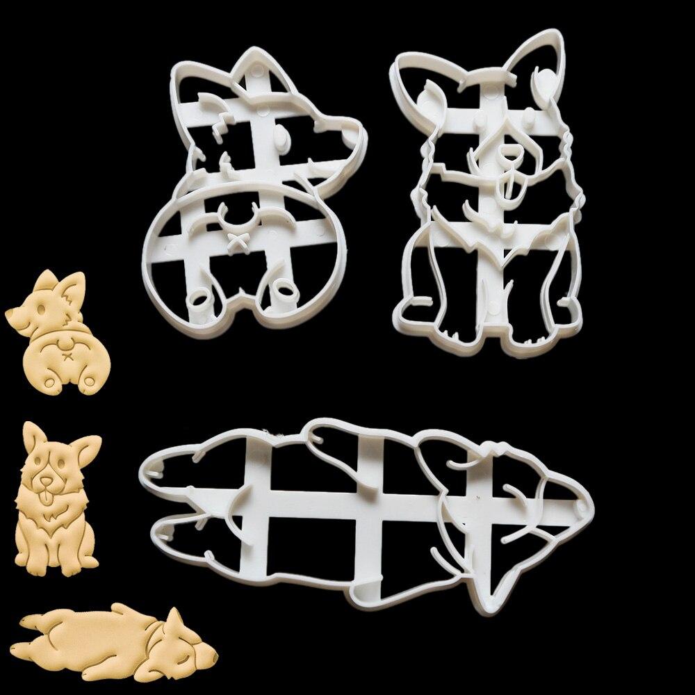 3 шт./компл. для выпечки печенья инструмент милый забавный корги собаки в форме формочки для печенья прессформы Кухонные принадлежности для выпечки инструмент для детей ручной DIY пресс-форм