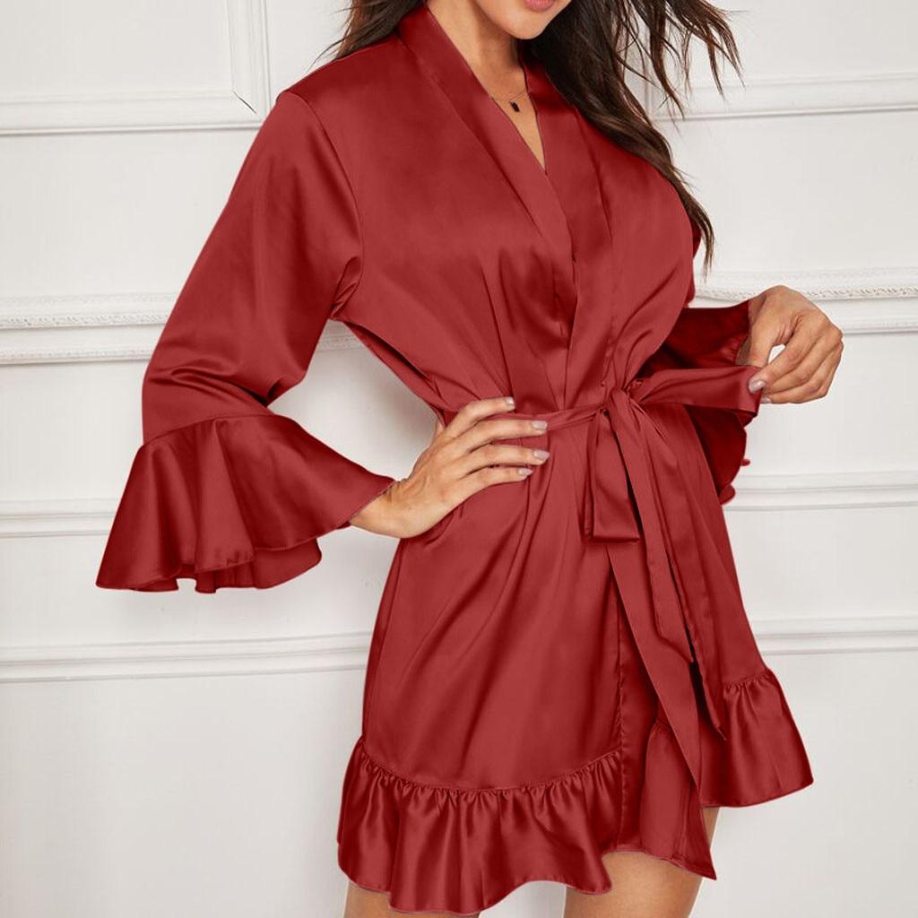 Las mujeres Lencería de encaje para dormir pijamas ropa interior ropa de dormir pijamas de dama de honor batas bata mujer халат женский теплый # A30