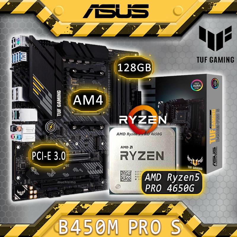 AM4 آسوس TUF الألعاب B450M-PRO S مع AMD Ryzen 5 برو 4650G الألعاب اللوحة كومبو Ryzen عدة 4650G وحدة المعالجة المركزية AMD B450 بلاسا-mv1 e AM4